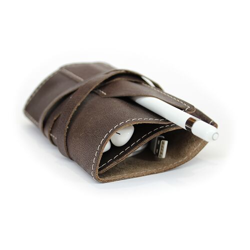Leather Wrap Accessory Case stores cords and headphones
