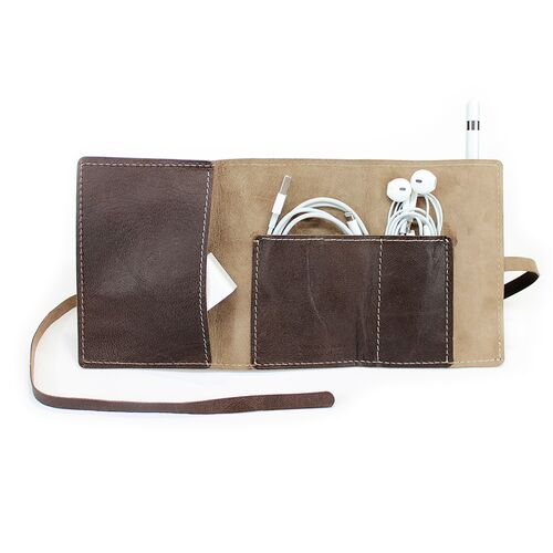 Leather Wrap Accessory Case stores charging cables and headphones