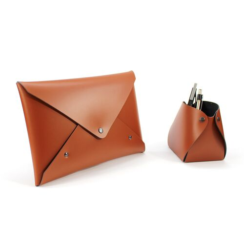 Envelope Style Pouch can match other Recycled Leather items