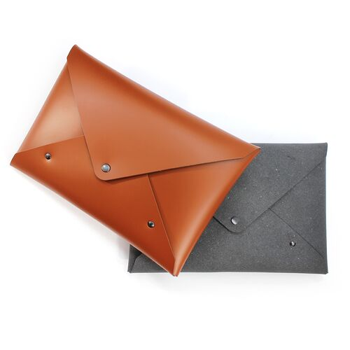 Envelope Style Pouch in Cognac and Natural Grey